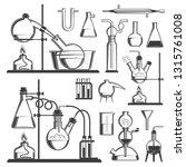 chemistry set of dishes  flasks ...   Shutterstock . vector #1315761008