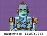 robot looks at the smartphone.... | Shutterstock .eps vector #1315767968