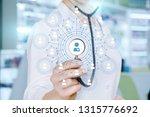 a closeup of a doctor touching... | Shutterstock . vector #1315776692