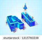 ai 3d neon isometric letters.... | Shutterstock .eps vector #1315783238