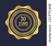 gold button with 30 years... | Shutterstock .eps vector #1315791608
