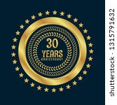 gold button with 30 years... | Shutterstock .eps vector #1315791632