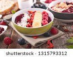 healthy breakfast with fruits | Shutterstock . vector #1315793312