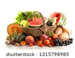 wicker basket with fruit and... | Shutterstock . vector #1315798985