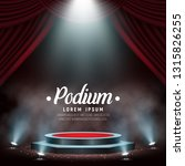 podium with curtain and smoke.... | Shutterstock .eps vector #1315826255