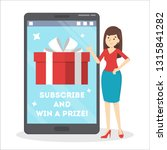internet contest. subscribe and ... | Shutterstock .eps vector #1315841282
