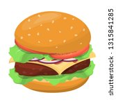big tasty hamburger with cheese ... | Shutterstock .eps vector #1315841285