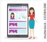 woman edit profile in social... | Shutterstock .eps vector #1315841288