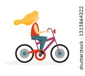 happy girl riding a bike.... | Shutterstock .eps vector #1315864322