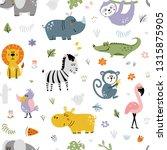 funny jungle animals seamless... | Shutterstock .eps vector #1315875905