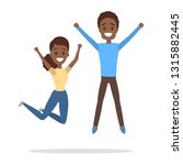 couple of happy people jumping. ... | Shutterstock .eps vector #1315882445