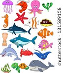 sea life cartoon set | Shutterstock .eps vector #131589158