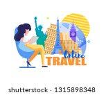 online travel. woman chooses... | Shutterstock .eps vector #1315898348