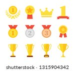 award and trophy cup icon set.... | Shutterstock .eps vector #1315904342