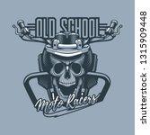 skull mounted in motorbike with ... | Shutterstock .eps vector #1315909448