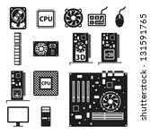 set of computer hardware icons. ... | Shutterstock .eps vector #131591765
