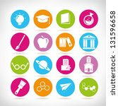 school and science icon set ... | Shutterstock .eps vector #131596658