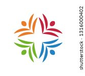 colorful teamwork logo | Shutterstock .eps vector #1316000402