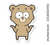 sticker of a cartoon bear... | Shutterstock .eps vector #1316032442