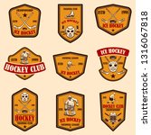 set of hockey club emblems.... | Shutterstock .eps vector #1316067818