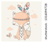 cute tribal fox in indian... | Shutterstock .eps vector #1316094728