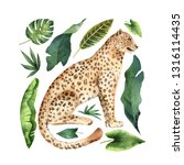 watercolor card with leopard... | Shutterstock . vector #1316114435