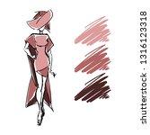 hand drawn woman dress fashion... | Shutterstock .eps vector #1316123318