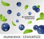 falling blueberry isolated on... | Shutterstock .eps vector #1316160122