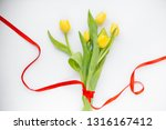 bouquet of yellow spring tulips ... | Shutterstock . vector #1316167412