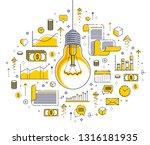 shining light bulb and set of... | Shutterstock .eps vector #1316181935