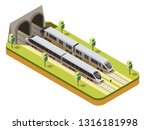 rail bus and high speed... | Shutterstock .eps vector #1316181998