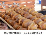 snack from baked potatoes with... | Shutterstock . vector #1316184695