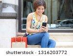 beautiful young tourist woman... | Shutterstock . vector #1316203772
