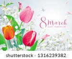bright tulips and white apple... | Shutterstock .eps vector #1316239382