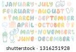handwritten names of months and ... | Shutterstock .eps vector #1316251928