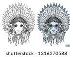 girl in native american...   Shutterstock .eps vector #1316270588