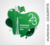 pakistan resolution day  23rd... | Shutterstock .eps vector #1316285978