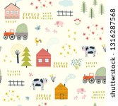 seamless childish pattern with... | Shutterstock .eps vector #1316287568