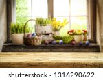 desk of free space and easter... | Shutterstock . vector #1316290622