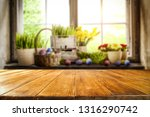 desk of free space and easter... | Shutterstock . vector #1316290742