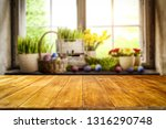 desk of free space and easter... | Shutterstock . vector #1316290748