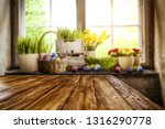 desk of free space and easter... | Shutterstock . vector #1316290778