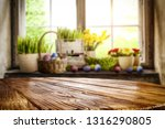 desk of free space and easter... | Shutterstock . vector #1316290805