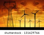 Wind Turbines With Power Line...