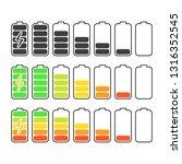 battery indicator icons set.... | Shutterstock .eps vector #1316352545