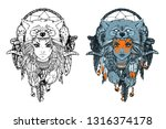native american girl with wolf... | Shutterstock .eps vector #1316374178