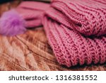 Folded Knitted Pink Plaid On...