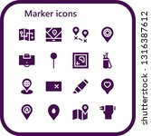 marker icon set. 16 filled...