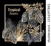 template banner dark leaves of... | Shutterstock .eps vector #1316397842