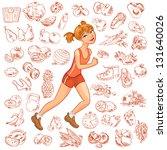 young woman jogging. health and ... | Shutterstock .eps vector #131640026